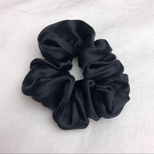 Handmade Black Silk Scrunchie Hair-Tie